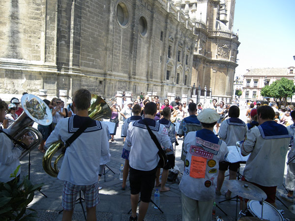 Spelning på helig mark i Sevilla, Spanien